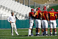 21 August 2008: Head Coach Pete Carroll on the field during the USC Trojans Pac-10 NCAA College football team final intrasquad scrimmage of fall camp in front of 8,000 fans in the Los Angeles Memorial Coliseum near school campus.  White team (1st and 2nd teamers) defeated the Cardinal (reserves) team 28-7 on Thursday.