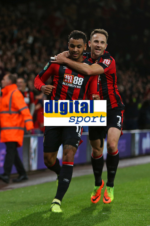 Football - 2017 / 2018 EFL (League) Cup - Third Round : AFC Bournemouth vs. Brighton and Hove Albion<br /> <br /> Bournemouth's Joshua King celebrates his goal with with Bournemouth's Marc Pugh at the Vitality Stadium (Dean Court) Bournemouth<br /> <br /> COLORSPORT/SHAUN BOGGUST