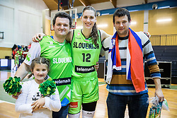 Eva Lisec of Slovenia celebrate with fans after winning and qualifying during basketball match between Women National Teams of Slovenia and Lithuania in Qualifications of EuroBasket Women 2017, on November 19, 2016 in Gimnazija Celje, Slovenia. Photo by Vid Ponikvar / Sportida