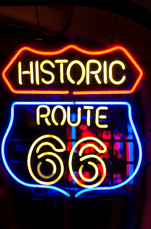 Historic Route 66 Neon Sign, Route 66 Malt Shop on Central Avenue (Historic Route 66) in the Nob Hill section of Albuquerque, New Mexico USA.