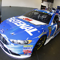 February 10, 2018 - Daytona Beach, Florida, USA: The car of Ricky Stenhouse Jr (17) sits in the garage before practice for the Advance Auto Parts Clash at Daytona International Speedway in Daytona Beach, Florida.