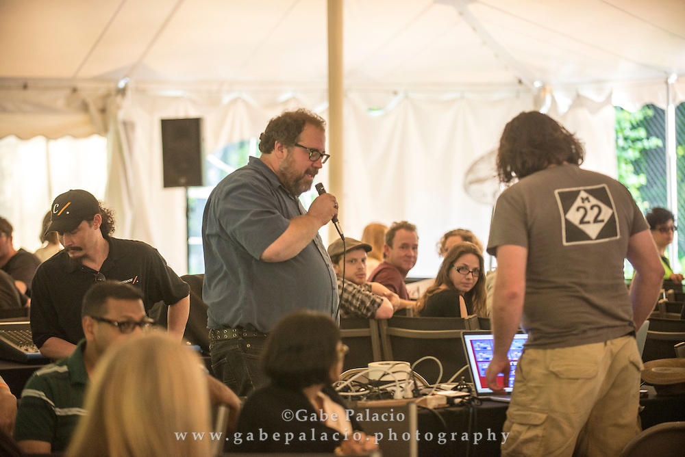 Performance by Evidence, a musical collaboration between artists Stephan Moore and Scott Smallwood, at opening for In the Garden of Sonic Delights at Caramoor in Katonah New York on June 7, 2014. <br /> (photo by Gabe Palacio)