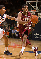 Florida State guard Derwin Kitchen (22) is guarded by Virginia guard Sylven Landesberg (15).  The Virginia Cavaliers fell to the Florida State Seminoles 73-62 in NCAA Basketball at the John Paul Jones Arena on the Grounds of the University of Virginia in Charlottesville, VA on January 24, 2009.