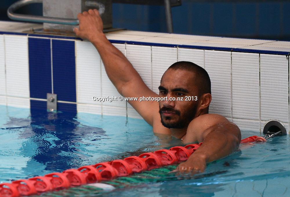 Thomas Leuluai. Vodafone Warriors Pool Recovery session. Lagoon Leisure and Fitness, Panmure, Auckland. Tuesday 2 April 2013. Photo: Andrew Cornaga/Photosport