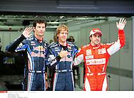 Grand Prix de Corée de Formule un..YEONGAM 22/10/10 ..2er séance d'essai...Photo Stéphane Mantey/L 'Equipe. *** Local Caption *** webber (mark) - (aus) -..vettel (sebastian) - (ger) -..alonso (fernando) - (esp) -