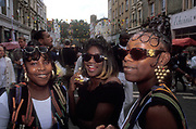 Girls with a finger wave hairstyles. Notting Hill Carnival 1997
