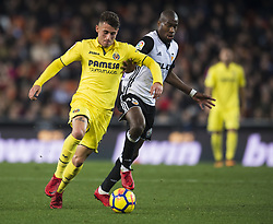 December 23, 2017 - Valencia, Spain - Daniel Raba, Kondogbia during the match between Valencia CF against Villarreal CF , week 17 of  La Liga 2017/18 at Mestalla stadium, Valencia, SPAIN - 17th December of 2017. (Credit Image: © Jose Breton/NurPhoto via ZUMA Press)