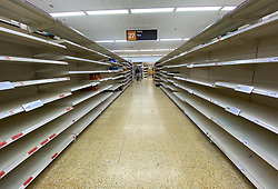 © Licensed to London News Pictures. 19/03/2020. London, UK. A Sainsbury's store in north London has sold out of the majority of its stock amid an increased fear of lockdown in London to combat the spread of Coronavirus ( COVID-19. Photo credit: Dinendra Haria/LNP