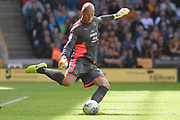 Wolverhampton Wanderers goalkeeper Carl Ikeme (1) clears the ball 0-0 during the EFL Sky Bet Championship match between Wolverhampton Wanderers and Middlesbrough at Molineux, Wolverhampton, England on 5 August 2017. Photo by Alan Franklin.