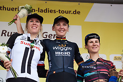 Top three: Lisa Brennauer (GER),. Ellen van Dijk (NED) and Elena Cecchini (ITA) at Lotto Thuringen Ladies Tour 2018 - Stage 4, a 118 km road race starting and finishing in Gera, Germany on May 31, 2018. Photo by Sean Robinson/Velofocus.com
