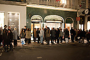 QUEUE OUTSIDE GALLERY IN BOND ST., Do Not Abandon Me - private view od wok by Tracey Emin alongside that of Louise Bourgeois. <br /> Hauser & Wirth London, 15 Old Bond Street, London, 17 February 2011. -DO NOT ARCHIVE-© Copyright Photograph by Dafydd Jones. 248 Clapham Rd. London SW9 0PZ. Tel 0207 820 0771. www.dafjones.com.