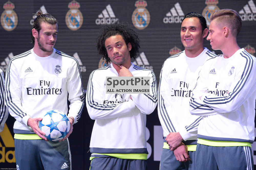 GARETH BALE, Real Madrid, MARCELO, Real Madrid, KEILOR NAVAS, Real Madrid - Real Madrid at the 'adidas urban football' event in Docklands, Melbourne Australia on the 19th July 2015. The event brought together local footballers (under 16's) from Port Melbourne, South Melbourne, Eltham & Box Hill during the final of a football tournament in Docklands. The event coincides with the local launch of adidas' new football boots – Ace & X.Melbourne Australia. © Mark Avellino | SportPix.org.uk
