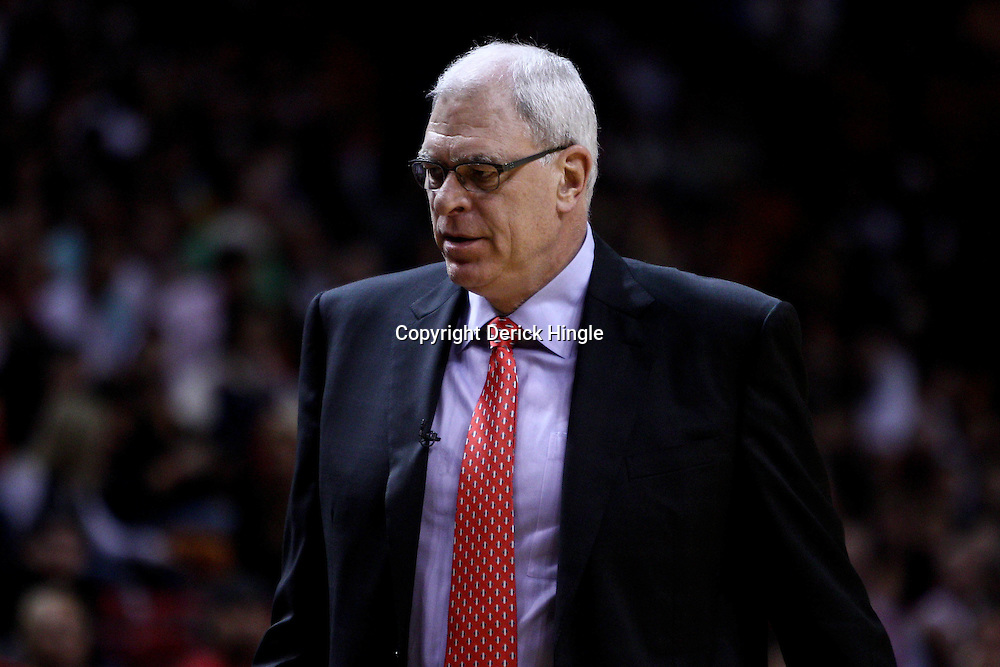 March 10, 2011; Miami, FL, USA; Los Angeles Lakers head coach Phil Jackson against the Miami Heat during the first quarter at the American Airlines Arena.  Mandatory Credit: Derick E. Hingle