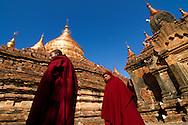 Monks outside a temple in Bagan, Myanmar (Burma).