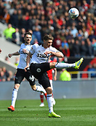 George Evans (17) of Derby County clears the ball during the EFL Sky Bet Championship match between Bristol City and Derby County at Ashton Gate, Bristol, England on 27 April 2019.
