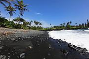 Black sand beach, Keanae Peninsula,Hana Coast, Maui, Hawaii