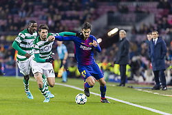 December 5, 2017 - Barcelona, Catalonia, Spain - FC Barcelona midfielder Andre Gomes (21) and Sporting CP defender Cristiano Piccini (92) during the match between FC Barcelona - Sporting CP, for the group stage, round 6 of the Champions League, held at Camp Nou Stadium on 5th December 2017 in Barcelona, Spain. (Credit Image: © NurPhoto via ZUMA Press)