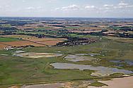 Aerial of Cley-next-the Sea Nature Reserve, Norfolk Wildlife Trust, summer, Norfolk UK