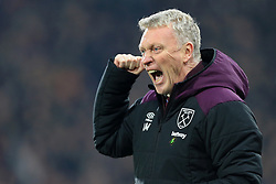13th January 2018 - Premier League - Huddersfield Town v West Ham United - West Ham manager David Moyes celebrates after scoring their 4th goal - Photo: Simon Stacpoole / Offside.