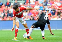 Callum O'Dowda of Bristol City is challenged by Adam Clayton of Middlesbrough- Mandatory by-line: Nizaam Jones/JMP- 18/08/2018 - FOOTBALL - Ashton Gate Stadium - Bristol, England - Bristol City v Middlesbrough - Sky Bet Championship