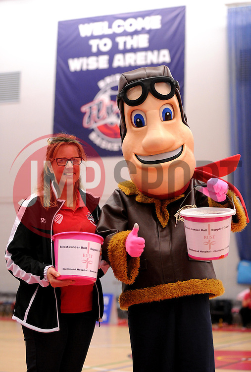 Fund-raising for BUST, the Bristol-based cancer charity, during half-time of the Bristol Flyers v Newcastle Eagles match - Photo mandatory by-line: Paul Knight/JMP - Mobile: 07966 386802 - 10/10/2015 - BASKETBALL - SGS Wise Arena - Bristol, England - Bristol Flyers v Newcastle Eagles - British Basketball League