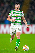 Kieran Tierney (#63) of Celtic FC during the Europa League group stage match between Celtic and RP Leipzig at Celtic Park, Glasgow, Scotland on 8 November 2018.