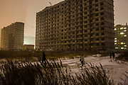 Huge apartment blocks rise on the outskirts of Astana, in Kazakhstan. With thousands of migrants arriving in the city every month from other parts of the Kazakstan, and from other central Asian countries, the capital has seen a massive construction boom with highrises appearing all over the city.