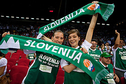 Fans of SLovenia during to the Preliminary Round - Group B basketball match between National teams of Tunisia and Slovenia match at 2010 FIBA World Championships on August 28, 2010 at Abdi Ipekci Arena in Istanbul, Turkey. (Photo by Vid Ponikvar / Sportida)