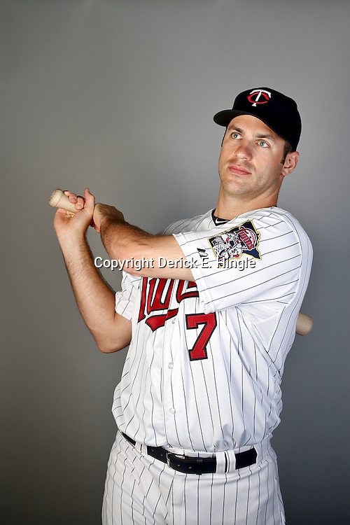 Feb 19, 2013; Fort Myers, FL, USA; Minnesota Twins catcher Joe Mauer (7) poses for a portrait during photo day at Hammond Stadium. Mandatory Credit: Derick E. Hingle-USA TODAY Sports