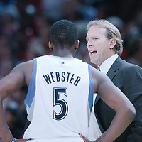 06 October 2010: Minnesota Timberwolves head coach Kurt Rambis talks to Minnesota Timberwolves forward Martell Webster #5 during the Minnesota Timberwolves 106-100 victory over the New York Knicks, during 2010 NBA Europe Live, at the POPB Arena in Paris, France.