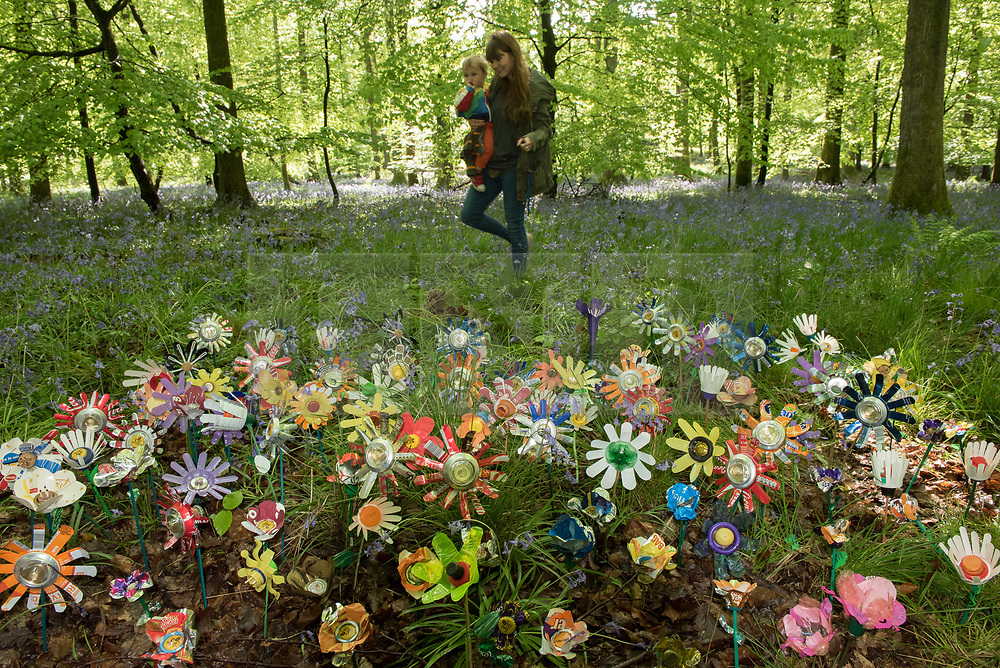 "© Licensed to London News Pictures. <br /> **EMBARGOED UNTIL 00.01am MONDAY 15 MAY, 2017**. 14/05/2017; Forest of Dean, Gloucestershire, UK. ""Please don't leaf it behind!"" Rosie Cripps with Ari Cussen (child) look at flowers made from rubbish collected in the Forest of Dean. The scheme is part of a new behaviour change campaign by Hubbub to tackle the rural litter epidemic. www.hubbub.org.uk/trashconverter. Trash Converters launch in the Forest of Dean, with a display of flowers created from waste, and with a van that gives out free drinks and snacks in exchange for rubbish that people find and bring to convert. For further details about the launch on 15 May please contact:<br /> Rachel Parkes	0777 565 2919 / rachel.parkes@greenhousepr.co.uk<br /> Helen Bell	07880 560 233 / helen.bell@greenhousepr.co.uk <br /> Picture credit : Simon Chapman/LNP"