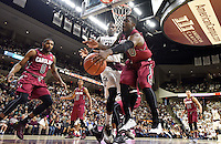 South Carolina's Duane Notice (10) goes after a rebound against Texas A&M's Danuel House during the second half of an NCAA college basketball game, Saturday, Feb. 6, 2016, in College Station, Texas. South Carolina won 81-78. (AP Photo/Sam Craft)