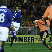 Dundee Utd v St Johnstone CIS cup.... 09.10.01<br />Paul Hartley opens the scoring for St Johnstone<br /><br />Pic by Graeme Hart<br />Copyright Perthshire Picture Agency<br />Tel: 01738 623350 / 07990 594431