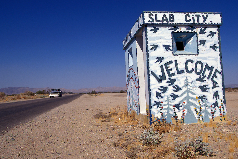 The entrance to Slab City, a squatter paradise in Niland, California.