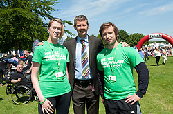 Steve Cram speaks to Physical Activity Practitioner's Fiona Roche and Aaron Hall who work on 'Get Active, Feel Good Lincolnshire', which is a two year pilot project run in partnership by Macmillan and Lincolnshire Sport to help local cancer patients recover more quickly and cope better with the physical and emotional side effects of treatment through gentle exercise.<br /> <br /> <br /> Steve Cram spent the day at the Lincolnshire Show with Clydesdale Bank and Yorkshire Bank.  He also visited the Sports Zone, at the show, which was organised by Lincolnshire Sport.<br /> <br /> Picture: Chris Vaughan/Chris Vaughan Photography<br /> Date: Wednesday, June 24, 2015