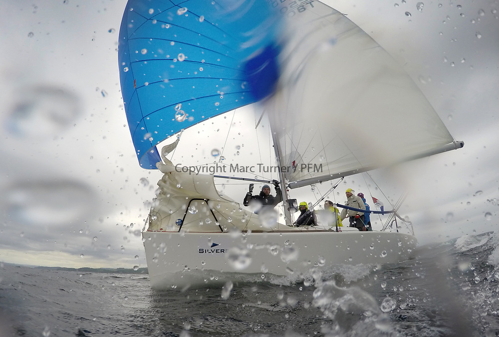 Silvers Marine Scottish Series 2017<br /> Tarbert Loch Fyne - Sailing<br /> <br /> GBR2506T, Edgy, Doug &amp; Alastair Paton, Fairlie Yacht Club, Beneteau 25<br /> <br /> Credit: Marc Turner / CCC