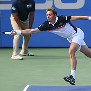 NICHOLAS MAHUT hits a forehand at the Rock Creek Tennis Center.