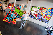 Preparations for the show continue. Opera Gallery London presents a selection of canvas works by the world renowned 'Godfather of Graffiti'- Seen. The exhibition takes inspiration from the growing American comic book cultural phenomenon, paying homage to some of the world's most iconic crime fighters and villains; including Batman, Wonder Woman, Superman and includes his 'dazzling' depiction of Captain America. Opera Gallery, New Bond Street, London.