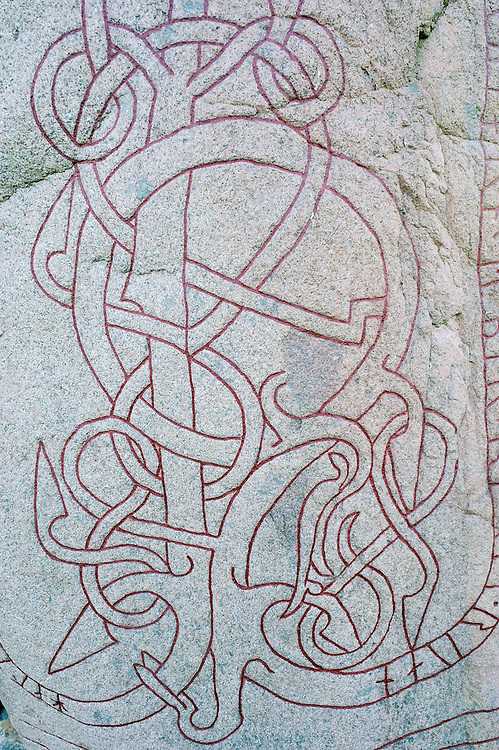 Viking art on Rune stone outside Taby, Uppland, Sweden