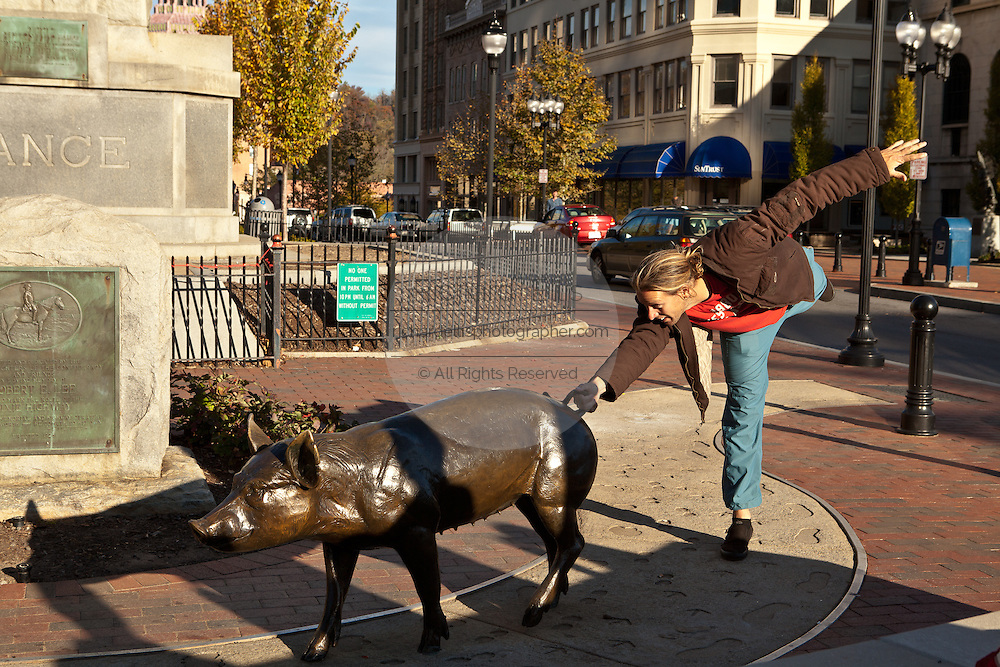 A young man takes a picture with the pigs of Pack Square in Asheville, NC.