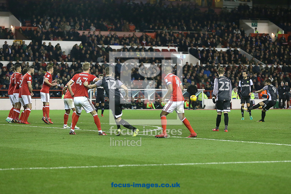 Nelson Oliveira of Norwich goes close with shot on goal from a free kick during the Sky Bet Championship match at the City Ground, Nottingham<br /> Picture by Paul Chesterton/Focus Images Ltd +44 7904 640267<br /> 21/11/2017