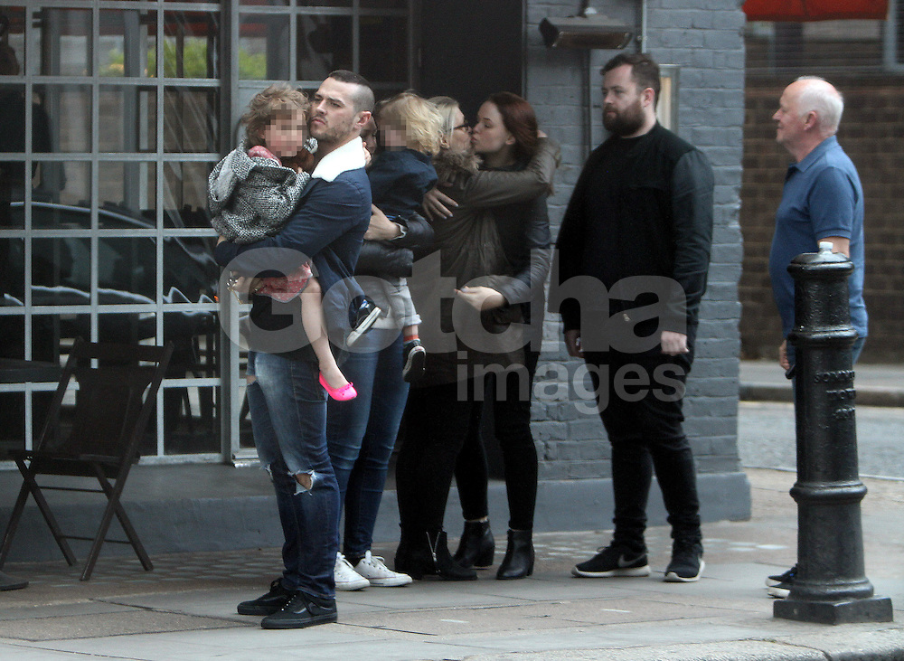 TV presenter Emma Willis and husband Matt Willis, daughter Isabelle, son Ace enjoy a Sunday lunch with friends and family at PizzaEast in north London, UK. 27/04/2014<br />
