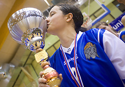 Nika Baric of Celje kisses the Cup at finals match of Slovenian 1st Women league between KK Hit Kranjska Gora and ZKK Merkur Celje, on May 14, 2009, in Arena Vitranc, Kranjska Gora, Slovenia. Merkur Celje won the third time and became Slovenian National Champion. (Photo by Vid Ponikvar / Sportida)