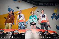 Stasa Gejo (SRB), Jernej Kruder, Janja Garnbret (SLO) and Jan Hojer (GER) at Fnal of Climbing event - Triglav the Rock Ljubljana 2018, on May 19, 2018 in Congress Square, Ljubljana, Slovenia. Photo by Urban Urbanc / Sportida