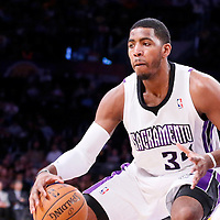 28 February 2014: Sacramento Kings power forward Jason Thompson (34) dribbles during the Los Angeles Lakers 126-122 victory over the Sacramento Kings at the Staples Center, Los Angeles, California, USA.