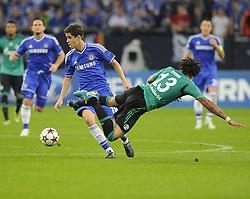 Chelsea's Oscar battles for the ball with FC Schalke 04 Jermaine Jones - Photo mandatory by-line: Joe Meredith/JMP - Tel: Mobile: 07966 386802 22/10/2013 - SPORT - FOOTBALL - Veltins-Arena - Gelsenkirchen - FC Schalke 04 v Chelsea - CHAMPIONS LEAGUE - GROUP E