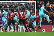 Penalty - Nathan Ake (5) of AFC Bournemouth is fouled by Federico Fernandez (18) of Newcastle United and a penalty is awarded to Bournemouth during the Premier League match between Bournemouth and Newcastle United at the Vitality Stadium, Bournemouth, England on 16 March 2019.