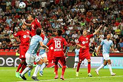26.08.2015, BayArena, Leverkusen, GER, UEFA CL, Bayer 04 Leverkusen vs Lazio Rom, Playoff, Rückspiel, im Bild v.l. Jonathan Tah (#4, Bayer 04 Leverkusen), Kyriakos Papadopoulos (#5, Bayer 04 Leverkusen), Stefano Mauri (#6, Lazio Rom), Wendell (#18, Bayer 04 Leverkusen), Stefan Kiessling (#11, Bayer 04 Leverkusen) // during UEFA Champions League Playoff 2nd Leg match between Bayer 04 Leverkusen and SS Lazio at the BayArena in Leverkusen, Germany on 2015/08/26. EXPA Pictures © 2015, PhotoCredit: EXPA/ Eibner-Pressefoto/ Deutzmann<br /> <br /> *****ATTENTION - OUT of GER*****
