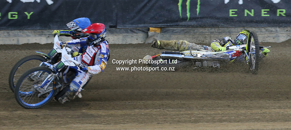 Darcy Ward (Australia) crashes hard into the wall during the 2014 New Zealand FIM Speedway Grand Prix held at Western Springs, Auckland, New Zealand on Saturday 5th April 2014<br /> Credit; Peter Meecham/ www.photosport.co.nz