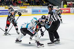 01.01.2019, Ice Rink, Znojmo, CZE, EBEL, HC Orli Znojmo vs EHC Liwest Black Wings Linz, 34. Runde, im Bild v.l. Anthony Luciani (HC Orli Znojmo) Rick Schofield (EHC Liwest Black Wings Linz) C.J. Stretch (HC Orli Znojmo) // during the Erste Bank Eishockey League 34th round match between HC Orli Znojmo and EHC Liwest Black Wings Linz at the Ice Rink in Znojmo, Czechia on 2019/01/01. EXPA Pictures © 2019, PhotoCredit: EXPA/ Rostislav Pfeffer